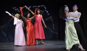 l-r, Abbie Rhone (Stepsister), Melvina Hayes (Stepmother), Martin Grizzell (Stepsister), and dancers