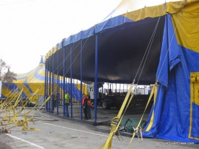 Cirque du Soleil OVO sets up in San Jose, CA. Raising the big top is a sure sign that the circus has arrived!