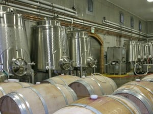 Berries are fermented in tanks and in barrels
