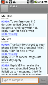 haiti text message red cross
