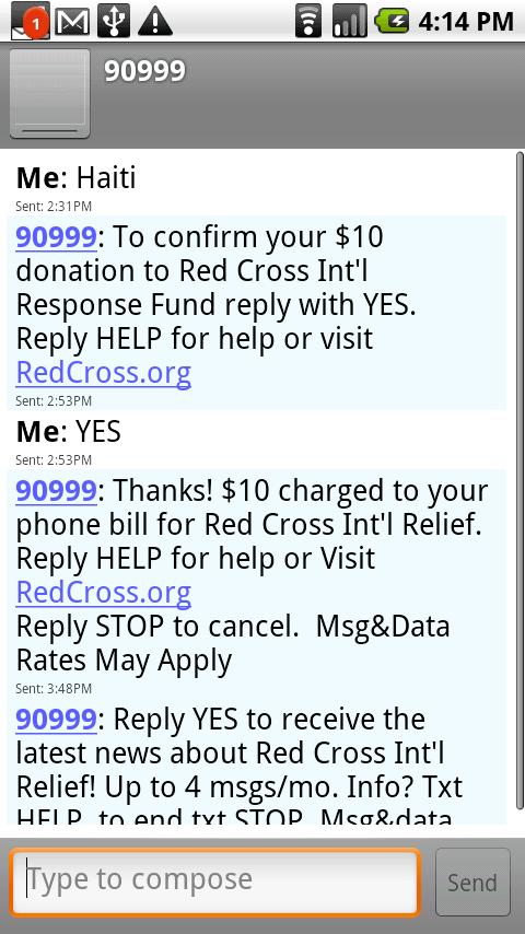haiti text message red cross
