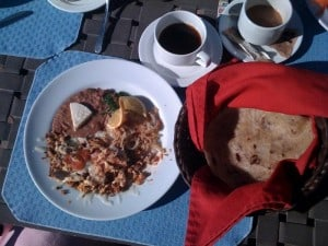 Eggs and Chorizo, Tortillas, Coffee at Oasis Hotel