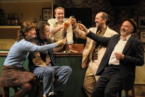The Weir: (l to r) Valerie (Zillah Glory), Jim (Mark Anderson Phillips), Brendan (Alex Moggridge), Finbar (Andy Murray), and Jack (Robert Sicular) gather at the local pub in San Jose Repertory Theatre's production of The Weir. Photo: Kevin Berne