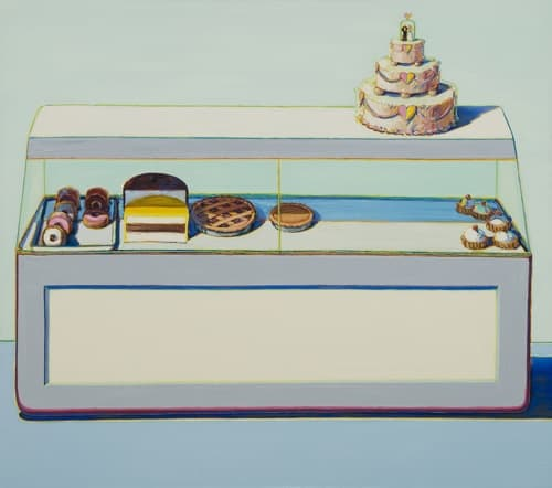 Wayne Thiebaud Bakery Case, 1996 Oil on canvas 60 x 72 inches Thiebaud Family Collection