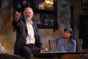 The Weir 4: (l to r) Jack (Robert Sicular) shares his heartbreaking story with Valerie (Zillah Glory) in San Jose Repertory Theatre's production of The Weir. Photo: Kevin Berne