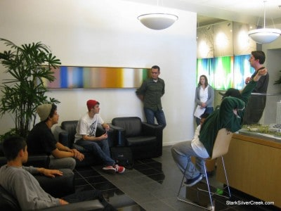 One team gathers in the hallways at Adobe headquarters to brainstorm their ideas.