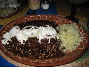 Dinner of Enmoladas at Los Mandiles, photo by Dee Wise