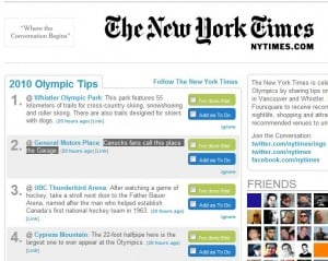 New York Times and Foursquare