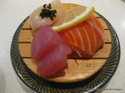 Their sashimi plate was just too hard to resist.