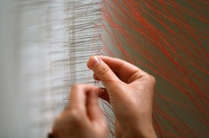 Beili Liu - Process. Bound #1, 2009, Thread and needles, Variable dimensions, Courtesy of the Artist