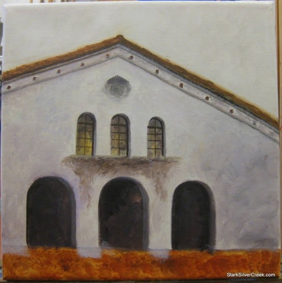 Oil Painting of Lucie Stern Theatre Palo Alto