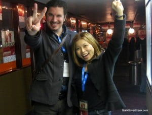 Director Rory Bain (The Whirling Dervish) strikes a Maverick pose with Loni Kao Stark