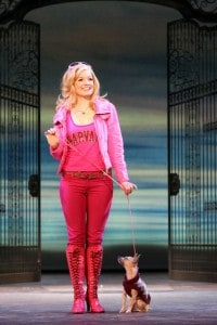 Becky Gulsvig as Elle Woods and Frankie as  Bruiser in the National Tour of Legally Blonde the Musical at Broadway San Jose.