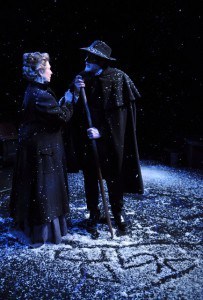 Ella Rentheim (l, Karen Lewis) and John Gabriel Borkman (r, James Carpenter) go for a walk in the snow in Aurora Theatre Company's John Gabriel Borkman  Photo by David Allen