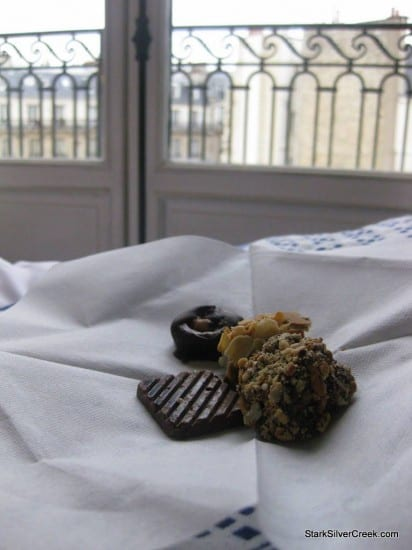 A sampling of handmade chocolates from my chocolate making class at L'Atelier des Sens on a Paris morning. Beautiful views outside my balcony.