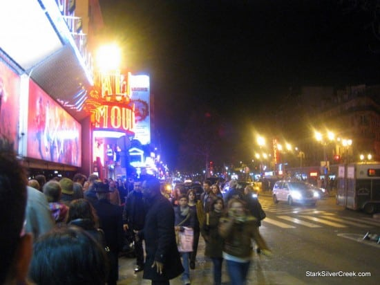 Waiting in line for the Moulin Rouge on a cold evening in Paris. In front of me, a mother and daughter from Greece. Behind me, a couple from an unusual country I can not recall anymore...however, it was not California!