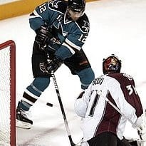 San Jose Sharks center Patrick Marleau (12) scores past Colorado Avalanche goalie Peter Budaj (31), of Slovakia, in the third period of Game 5 of a first-round NHL hockey playoff series Thursday, April 22, 2010, in San Jose, Calif. (AP Photo/Paul Sakuma) (Paul Sakuma - AP)