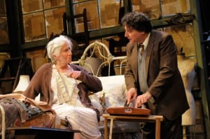 Believing that his Aunt Grace (Olympia Dukakis) is dying, Kemp (Marco Barricelli) starts taking care of her after not seeing her for 30 years. Photo by Kevin Berne.