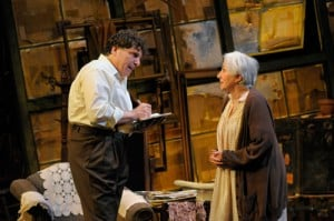 Kemp (Marco Barricelli) tries to get Grace (Olympia Dukakis) involved in the planning of her funeral. Photo by Kevin Berne.