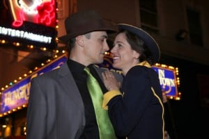 Sky Masterson (Tyler McKenna) and Sarah Brown (Susan Zelinsky) star in Mountain Play's Guys and Dolls