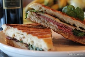 King trumpet mushroom, basil and brie pastrami panini