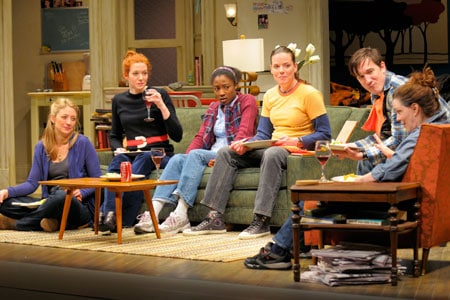(l to r) At Berkeley Rep, Heidi Schreck, Andrea Frankle, Miriam Glover, Danielle Skraastad, Carson Elrod and Dierdre O'Connell star in the world-premiere production of In the Wake, from the creators of Broadway's Well. Photo courtesy of kevinberne.com
