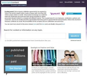 Associated Content Yahoo Deal