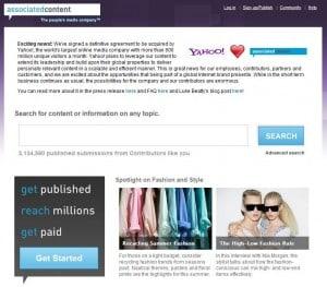 Associated Content Yahoo Deal