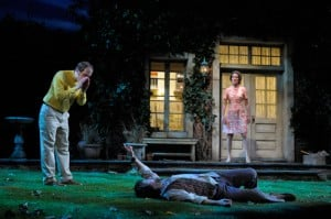 Reg (Anthony Fusco, left) and his wife, Sarah (Marcia Pizzo), bring a drunk and rowdy Norman (Manoel Felciano) into the garden for some fresh air. Photo by Kevin Berne.