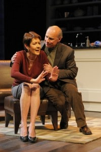 An emotionally strained Sonia (Ivonne Coll) leans on her husband Daniel (Michael Santo) for comfort in San Jose Repertory Theatre's production of Sonia Flew. Photo: Kevin Berne.