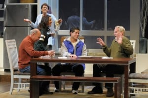 Daniel (Michael Santo), Jen (Tiffany Ellen Solano), Sonia (Ivonne Coll), Zak (Miles Gaston Villanueva) and Sam (Julian López-Morillas) enjoy pasteles and coffee in San Jose Repertory Theatre's production of Sonia Flew. Photo: Kevin Berne