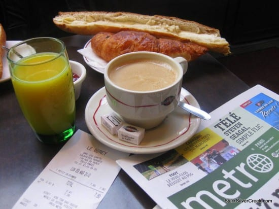The breakfast special. A cappaccino, mini baguette, croissant and orange juice. The baguette comes with a generous slathering of butter.