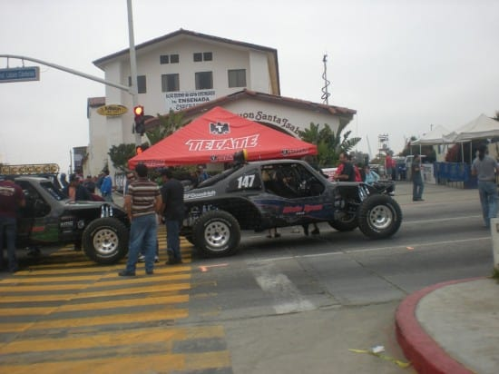 Race Cars and Booths in Downtown Ensenada