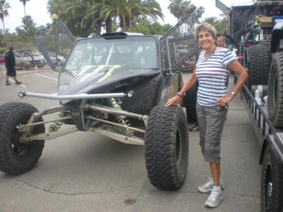 Sharon Standing Next To Robby Gordon's Test Car