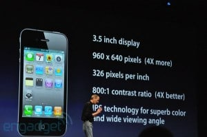 Steve Jobs unveils the iPhone 4. Image: Engadget.