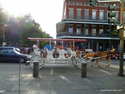 A horse and carriage. A common sight on the streets of downtown New Orleans. Yes, it is probably only tourists that ride in them.