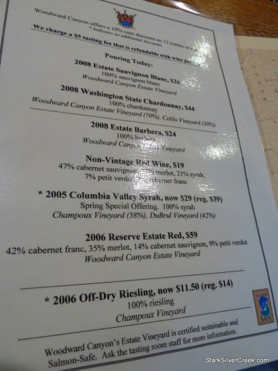 Wine selection being poured in the tasting room.