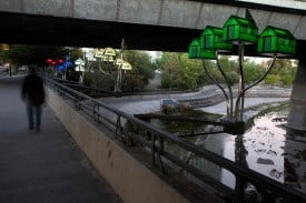"During the 01SJ Biennial Lasser along with artist Marguerite Perret will have installed the ""Floating World"" along the 87 Underpass along the Guadalupe river basin.  photo provided by artist."
