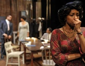 Actress Wiletta Mayer (r, Margo Hall*) has an emotional moment as the cast (l-r,Rhonnie Washington*, Elizabeth Carter*, Jon Gentry*) prepares to rehearse in Trouble in Mind Photo by David Allen