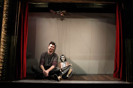 Matt Acheson designed the puppets—including this marionette of Anne Frank—for the world-premiere production of Compulsion at Berkeley Repertory Theatre. Photographer: Joan Marcus