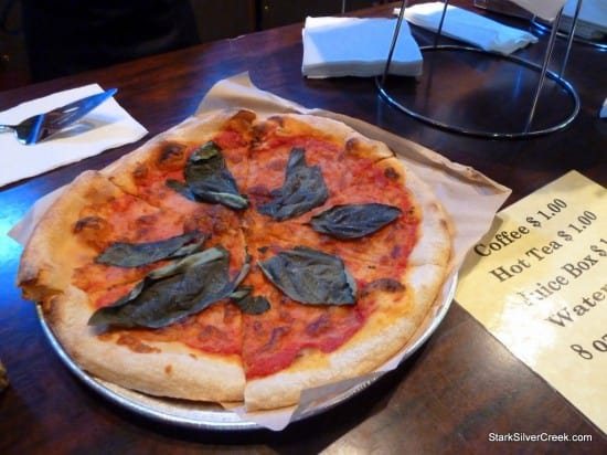 Basil pizza at opening night of Aladdin
