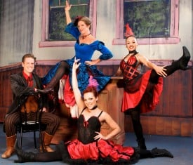 L to R, Michael Cassidy as Jake Whippany, Stephanie Rhoads* as Cherry Jourdel, and Tracey Leigh Freeman and Jessica Robinson as Fandango dancers