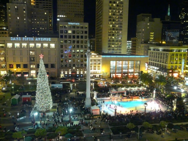Aerial of view of the 2009 Safeway Holiday Ice Rink in San Francisco's Union Square