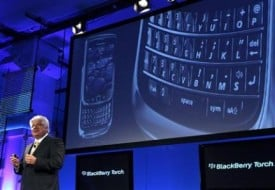 Mike Lazaridis, founder and co-chief executive of Research In Motion (RIM), introduces the new BlackBerry Torch 9800 smartphone at a news conference in New York August 3, 2010. Credit: Reuters.
