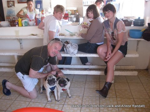 Randall family having lunch at El ReyTaco with Pugs