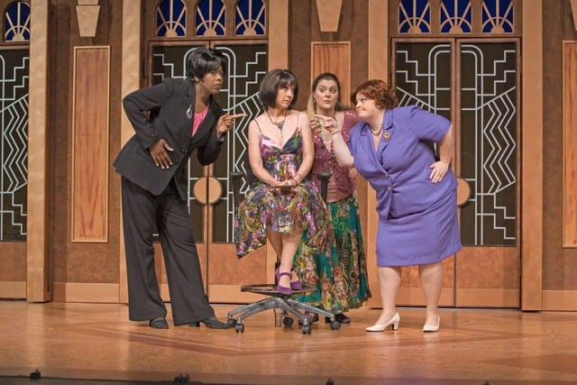 l-r Professional Woman (Kimberly Ann Harris), Soap Star (Lisa Fox), Earth Mother (Megan Cavanagh), and Iowa Housewife (Liz Hyde) in MENOPAUSE THE MUSICAL.