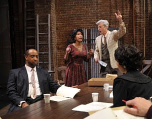 Al Manners (c. r, Tim Kniffin*) directs Wiletta Mayer (c. l,Margo Hall*) in front of cast and crew (l, Melissa Quine, Rhonnie Washington*, r. front-back Patrick Russell*, Elizabeth Carter*, Jon Gentry*) in Trouble in Mind Photo by David Allen
