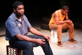 Joshua Elijah Reese and Tobie Windham as Ogun and Oshoosi Size in The Brothers Size at Magic Theatre. Written by Tarell Alvin McCraney, directed by Octavio Solis. Photo by Jennifer Reiley.