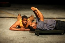 Tobie Windham and Joshua Elijah Reese as Oshoosi and Ogun Size in The Brothers Size at Magic Theatre. Written by Tarell Alvin McCraney, directed by Octavio Solis. Photo by Jennifer Reiley.
