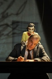 Tony- and Emmy Award-winning actor Mandy Patinkin performs with a marionette of Anne Frank in the world-premiere production of Compulsion at Berkeley Rep. Photo courtesy of kevinberne.com